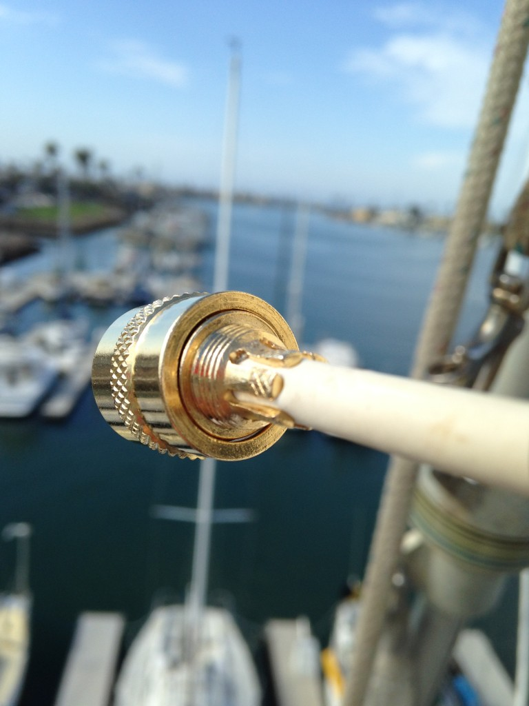 Spliced coax cable at top of sailboat mast.