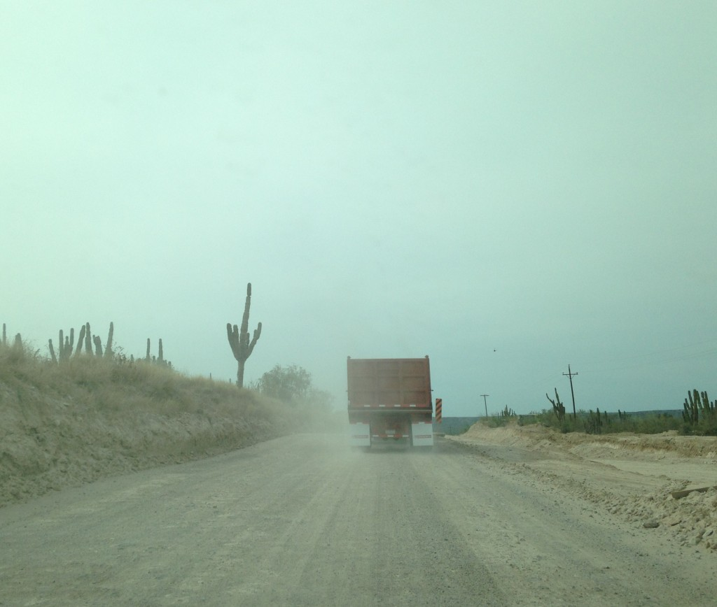 A small portion of the drive was unpaved. Hurricane Odile damaged the highway and repairs were underway.
